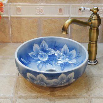 JingYuXuan basin of jingdezhen ceramic art basin basin sinks the sink on the blue dream small 35