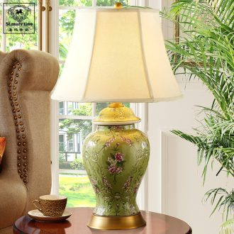 Santa marta tino full copper ceramic warm warm light American restoring ancient ways is the head of a bed bedroom lamp green enamel craft lamp