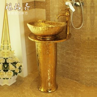 Koh larn, qi balcony column basin one-piece ceramic floor type lavatory toilet basin that wash a face to wash your hands