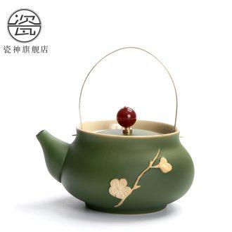 Porcelain god coarse some ceramic porcelain teapot teacup tea kungfu personality hand pot of Japanese household girder pot of tea
