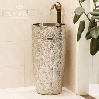 Jingdezhen ceramic art basin pillar basin one-piece lavabo lavatory basin column basin suit