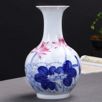 Jingdezhen ceramics hand-painted blue and white porcelain vases, flower arrangement furnishing articles furnishing articles antique Chinese style porch sitting room decoration