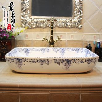 JingYuXuan jingdezhen ceramic art basin stage basin sinks the sink basin blue and white square chrysanthemum