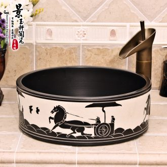 JingYuXuan jingdezhen ceramic art basin stage basin sinks the sink basin straight black and white carriage