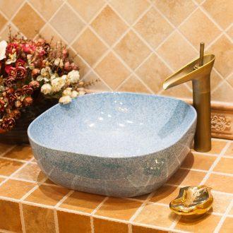 M beauty ceramic toilet stage basin sink lavatory basin square blue glaze