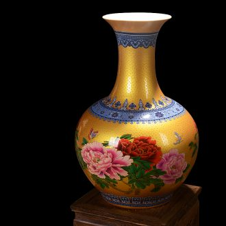 Jingdezhen ceramics colored enamel golden riches and honor peony home decoration vase handicraft furnishing articles in the living room