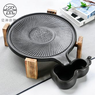 Porcelain god contracted Japanese tea ceremony household utensils suit real wood double stone mill ceramic cups tea tray tea tea