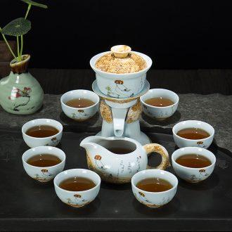Ronkin household creative semi-automatic kung fu tea set suits all lazy people make tea ware ceramic teapot teacup