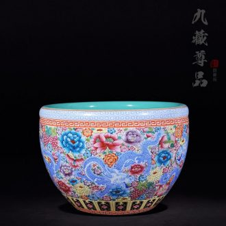 """Antique hand-painted jingdezhen ceramics powder enamel vase """"dragon on the peony flower is cylinder 】 home furnishing articles in the living room"""