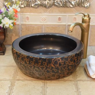 JingYuXuan jingdezhen ceramic lavatory basin sink basin art basin waist drum yellow flower on stage