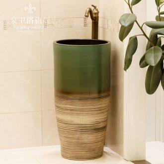 Jingdezhen ceramic art basin pillar basin sink floor type lavatory basin column basin suit