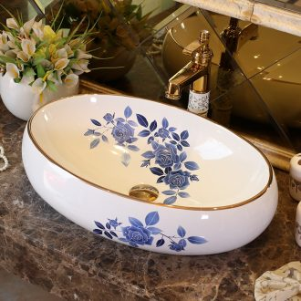 Rain spring basin of jingdezhen ceramic table art European lavabo oval basin to restore ancient ways small family sinks