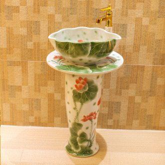 Post, qi jingdezhen hand-painted pillar basin ceramic art basin sink basin lotus pond