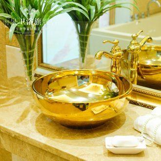 Spring rain ceramic sanitary ware basin art basin basin hotel lavabo lavatory golden covers round the stage