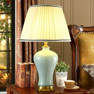 Santa marta tino ice crack Chinese ceramic desk lamp lights contracted copper study living room desk lamp of bedroom the head of a bed pack mail