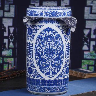 Jingdezhen ceramic bread seven large in pu 'er tea caddy household seal pot tea cake box