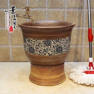 Art of jingdezhen JingYuXuan mop pool jump cut around branch lotus fission mop pool ceramic mop mop basin