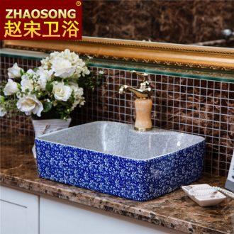 Jingdezhen retro square ceramic art stage hand washing basin hotel toilet stage basin size home