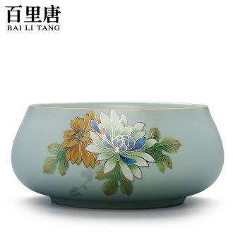 Thyme tang ceramic tea wash slicing your kiln elegant coagulation sweet Japanese cup washing large bowl washing writing brush washer on flowers