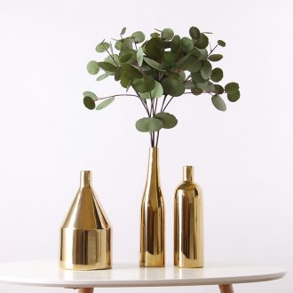 Golden idea Nordic ceramic vase household table wine contemporary and contracted sitting room flower adornment furnishing articles