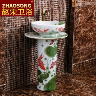 European style of song dynasty contracted ceramic basin to the balcony floor toilet lavabo combination on the post outside