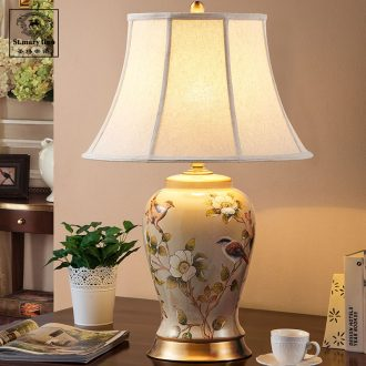 Ou all copper ceramic desk lamp new classic rural American living room desk lamp of bedroom the head of a bed large example room light