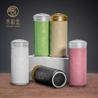 Net porcelain ceramic cups and hall portable double layer heat insulation vacuum personality hot cup creative mug