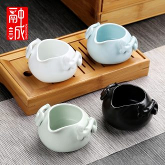 Kiln ceramic fair mug) suit kung fu tea tea accessories points resistance to hot tea sea creative tea cup
