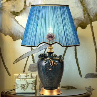 American whole copper ceramic desk lamp bedroom berth lamp LED contracted light lamp X luxury european-style decorative study atmosphere