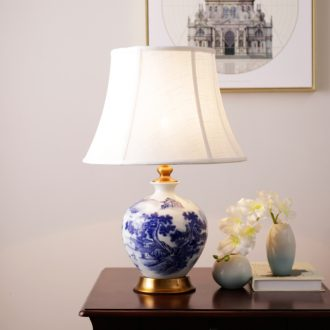 Ceramic lamp modern new Chinese style classical example room warm hotel bedroom berth lamp study decorate the living room