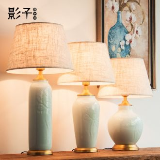 Desk lamp of bedroom the head of a bed of modern American contracted copper decoration ceramics study hotel guest room desk lamp sitting room 1053