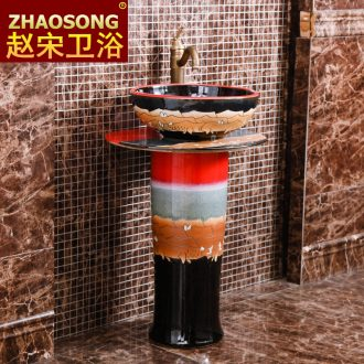The wind restoring ancient ways of song dynasty porcelain pillar lavabo basin of Chinese style bathroom floor type lavatory outdoor balcony