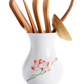 Porcelain god black pottery tea six gentleman kung fu tea tea art ceramics fittings ChaGa suit wood bamboo clip ChaZhen