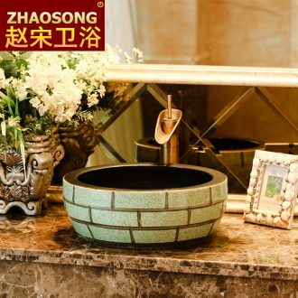 Basin of Chinese style restoring ancient ways of song dynasty ceramics on large toilet lavabo thickening basin of the balcony outside the pool that wash a face