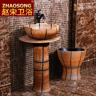 Archaize ceramic basin floor toilet lavabo, the post of song dynasty outside lavatory basin column combination