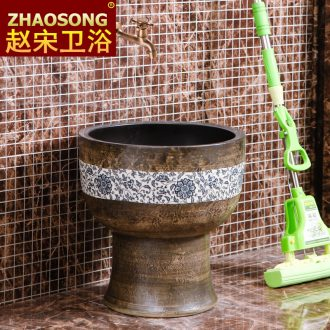 Chinese style of song dynasty porcelain Siamese mop pool large round mop pool archaize mop basin integrated outdoor 40 cm