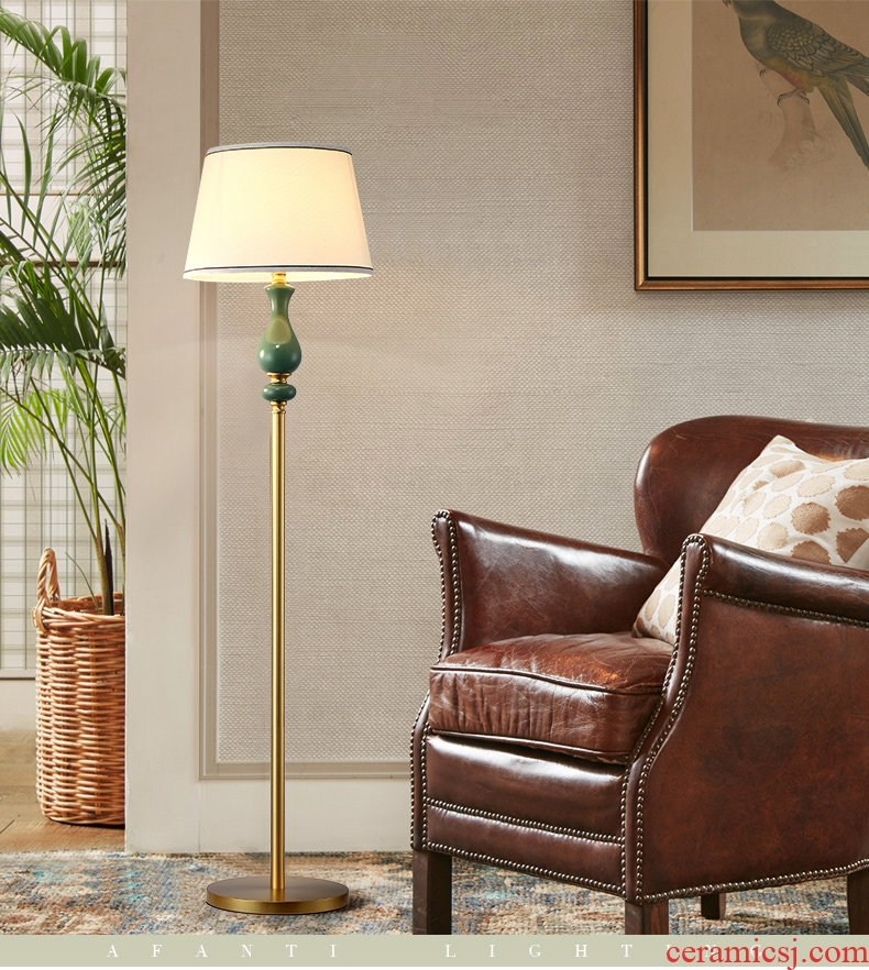 American country full copper ceramic floor lamp decoration simple modern villa berth lamp warm home sitting room study