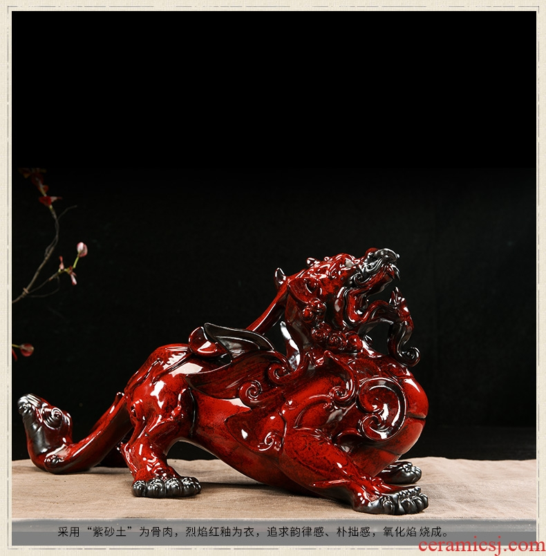 Oriental clay ceramic bullies big sitting room lucky money and the mythical wild animal office furnishing articles pichel, high-end gifts