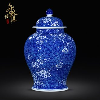 Jingdezhen blue and white ice storage tank of archaize ceramics mei general tank mesa large vases, the adornment that occupy the home furnishing articles
