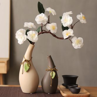 Japanese zen household manual simulation cherry plum flower adornment is placed pendant ceramic vase combined packages