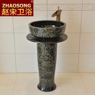 Basin of Chinese style restoring ancient ways of song dynasty porcelain pillar carved the sink American thickening of the basin that wash a face outdoor balcony antifreeze