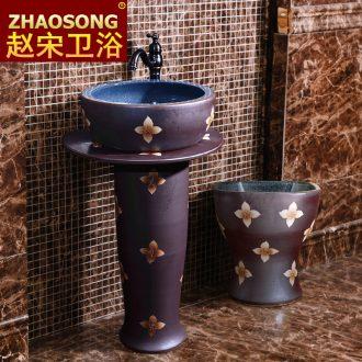 Retro floor pillar bowl lavatory household outdoor balcony sink ceramic lavabo outdoor courtyard garden