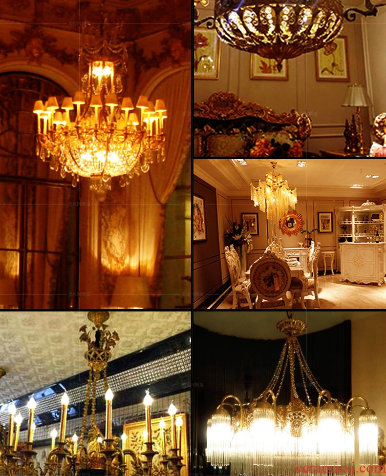 French copper chandelier lights sitting room lights restaurant ceramic lamps and lanterns of european-style luxury villa hall bedroom whole copper chandelier