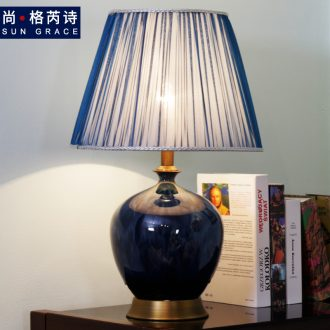 Contemporary and contracted sweet ceramic desk lamp full copper lamp sitting room the bedroom the head of a bed lamp vase creative study desk lamp