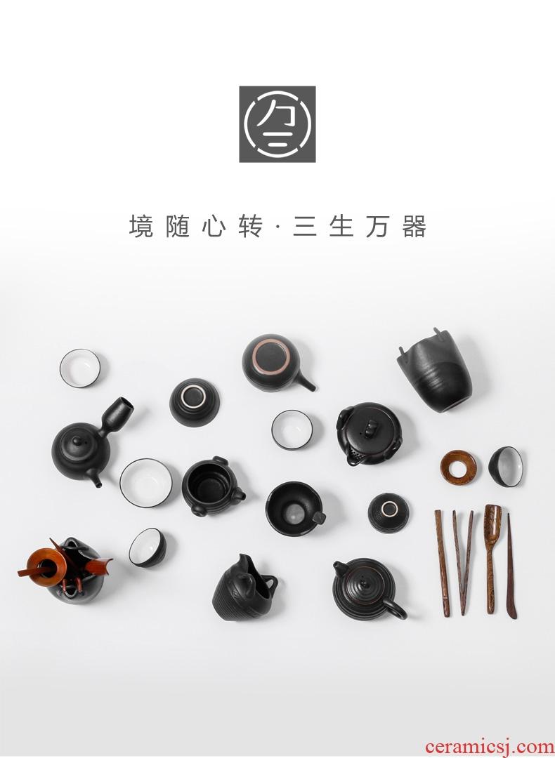Three thousand tea six gentleman's combination of solid wood ebony tea ceremony ChaGa teaspoons ceramic kung fu tea accessories