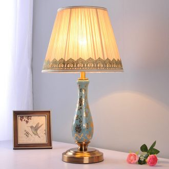 European ceramic desk lamp warm bedroom berth lamp sitting room study contracted household adornment personality remote marriage room