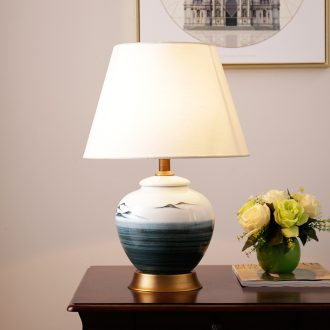 New Chinese style landscape painting of jingdezhen ceramic whole copper lamp warm contracted creative and romantic sitting room bedroom berth lamp