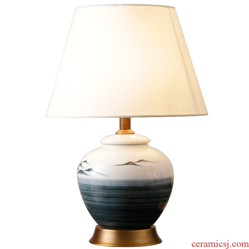 New Chinese style landscape painting complete copper ceramic desk lamp costly contracted sweet romance creative sitting room bedroom berth lamp