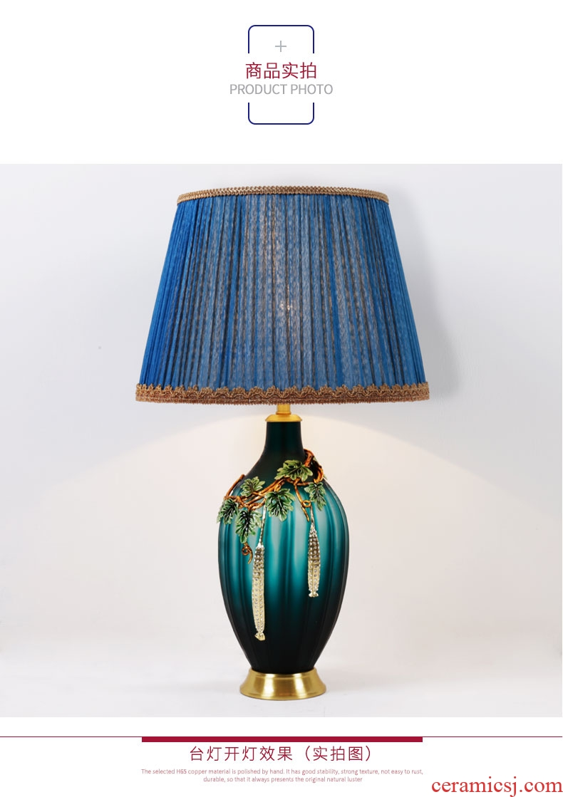 American colored enamel luxury villa living room large lamp full copper contracted pure copper decorative ceramic lamp of bedroom the head of a bed