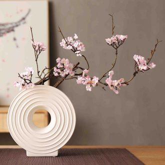 Japanese broken branches of peach blossom wild cherry blossom simulation flower zen household soft adornment ceramic vases, flower arrangement sitting room place